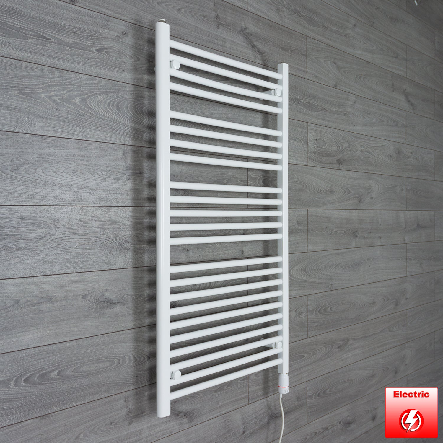 700mm Wide 1200mm High Pre-Filled White Electric Towel Rail Radiator With Thermostatic GT Element
