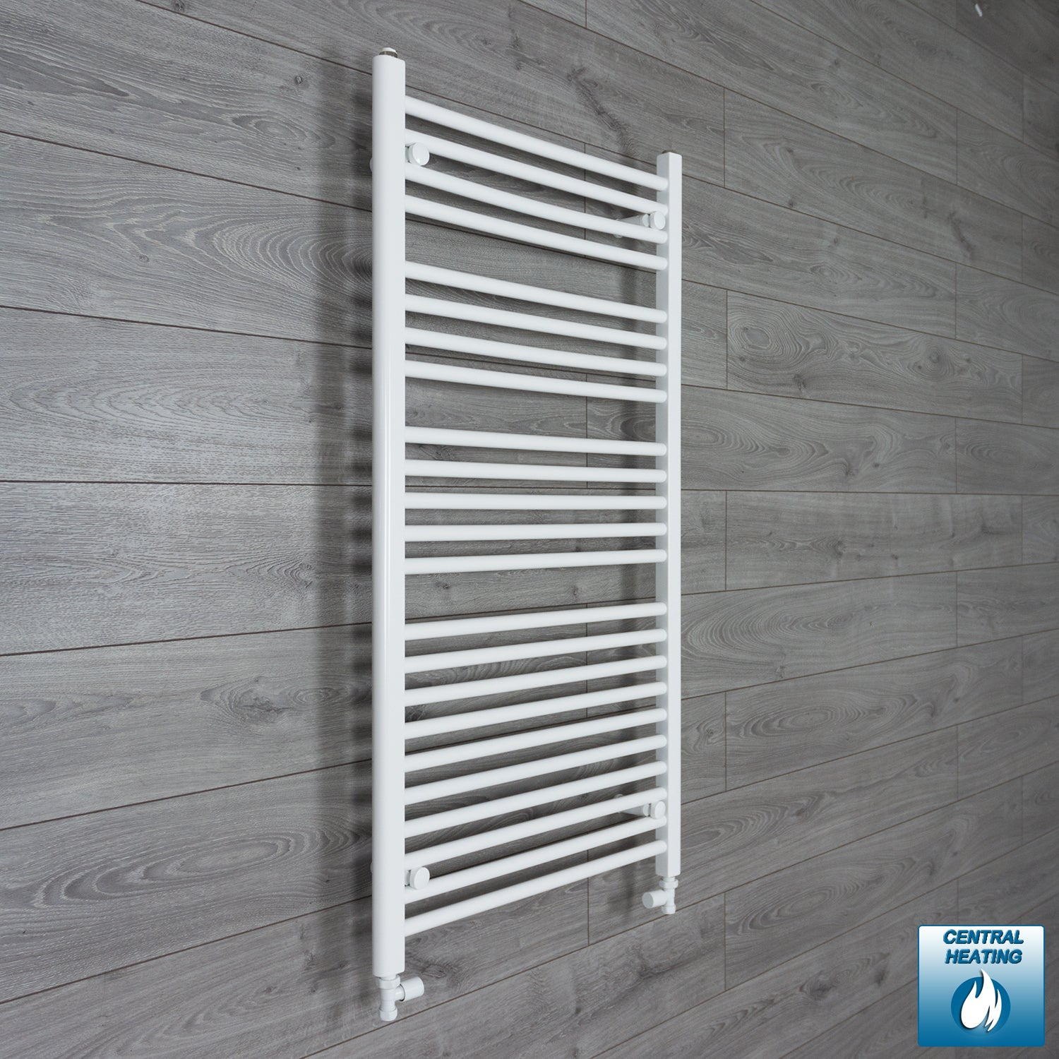 650mm Wide 1200mm High White Towel Rail Radiator With Straight Valve