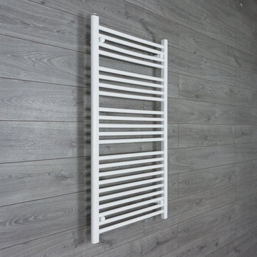 650x1200mm Flat White Electric Element Towel Rail
