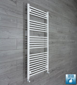 650mm Wide 1400mm High White Towel Rail Radiator With Angled Valve