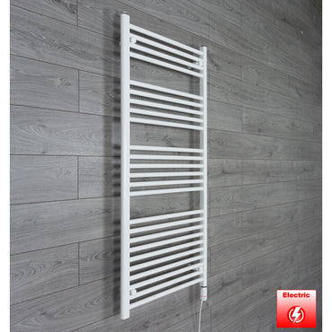 650mm Wide 1400mm High Pre-Filled White Electric Towel Rail Radiator With Thermostatic GT Element