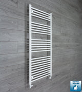 650mm Wide 1400mm High White Towel Rail Radiator With Straight Valve