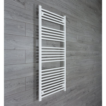 650x1400mm Flat White Electric Element Towel Rail