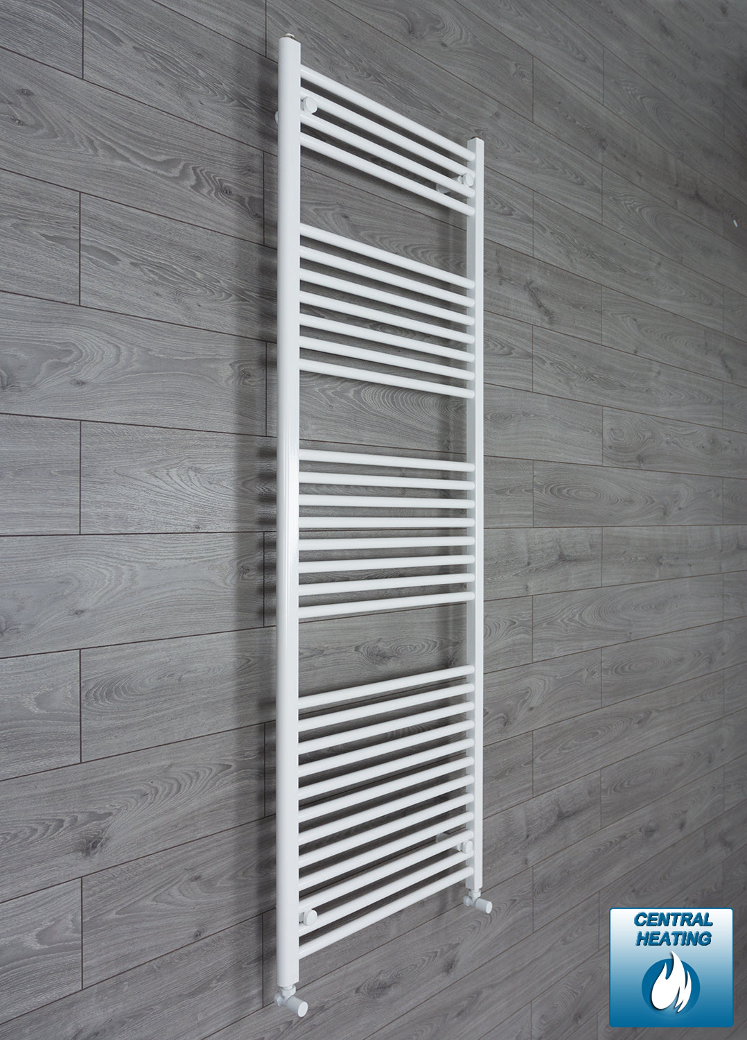 650mm x 1800mm High White Towel Rail Radiator With Angled Valve