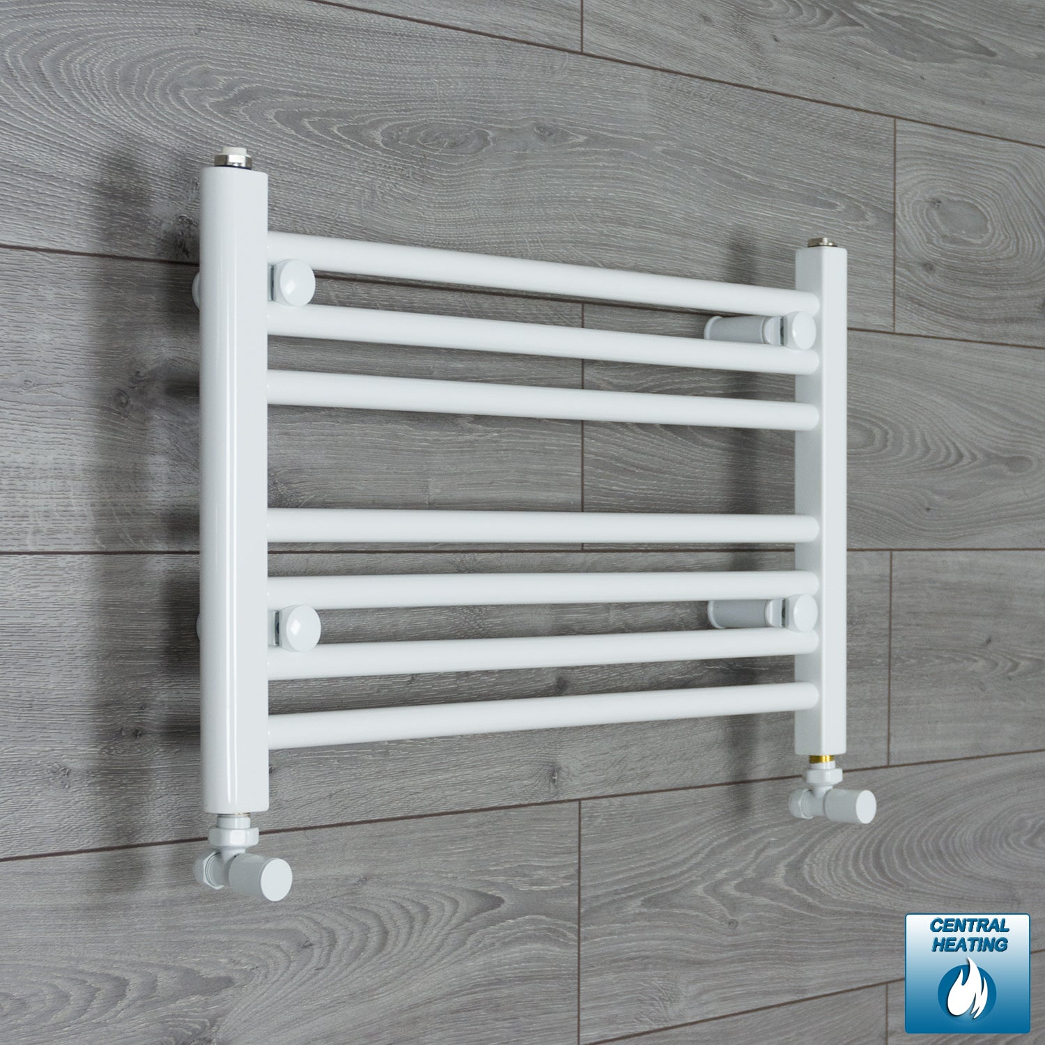 600mm Wide 400mm High White Towel Rail Radiator With Angled Valve