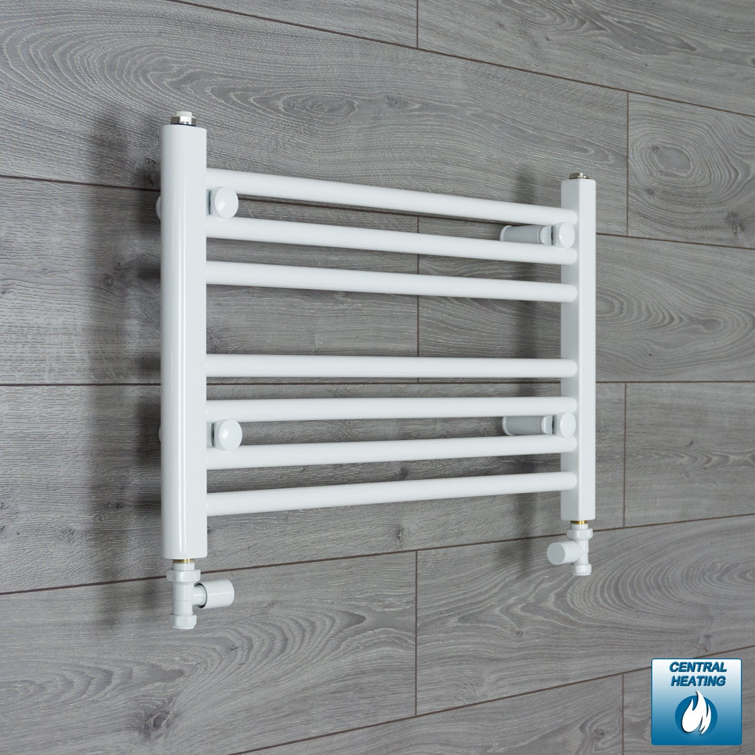 650mm Wide 400mm High White Towel Rail Radiator With Straight Valve