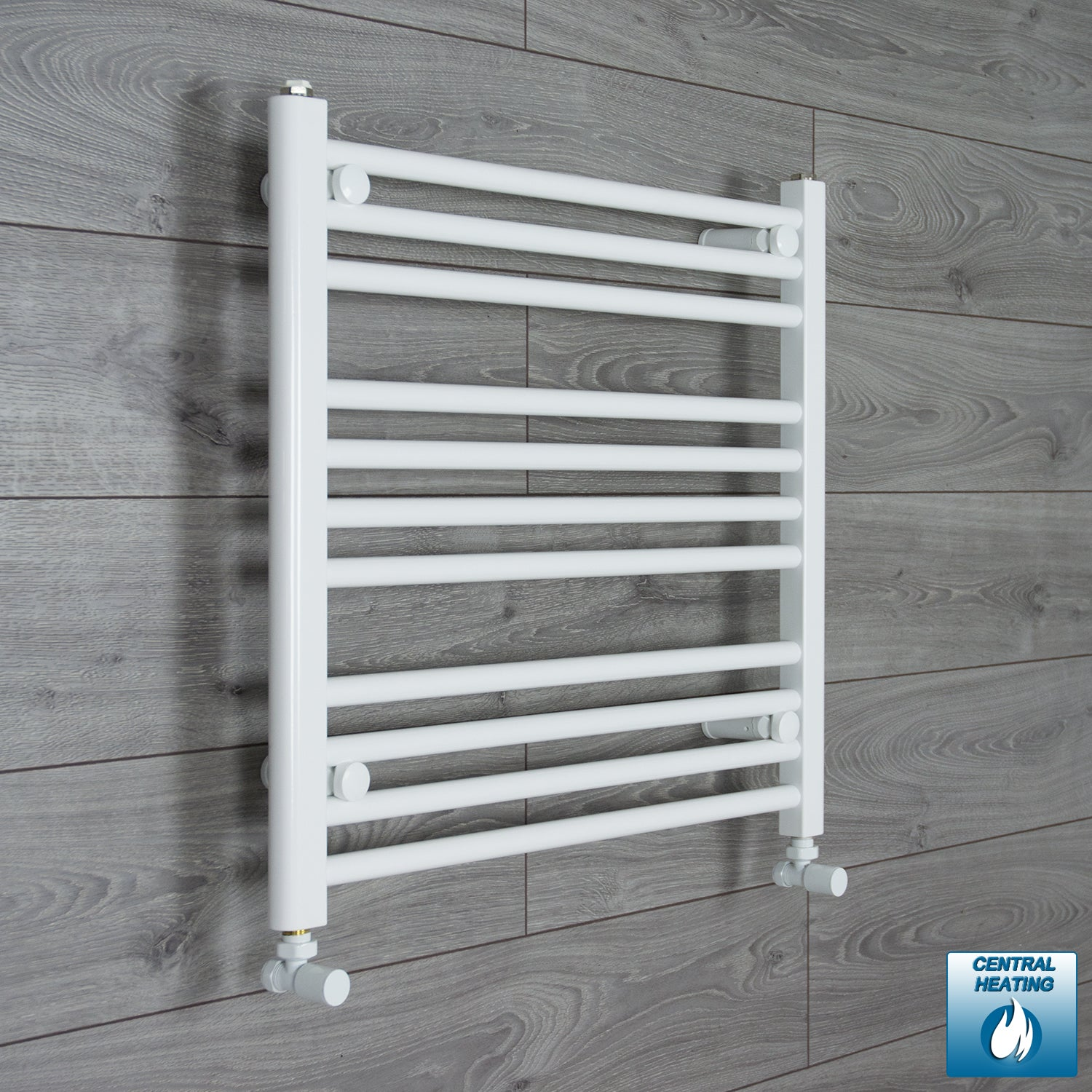700mm Wide 600mm High White Towel Rail Radiator With Angled Valve