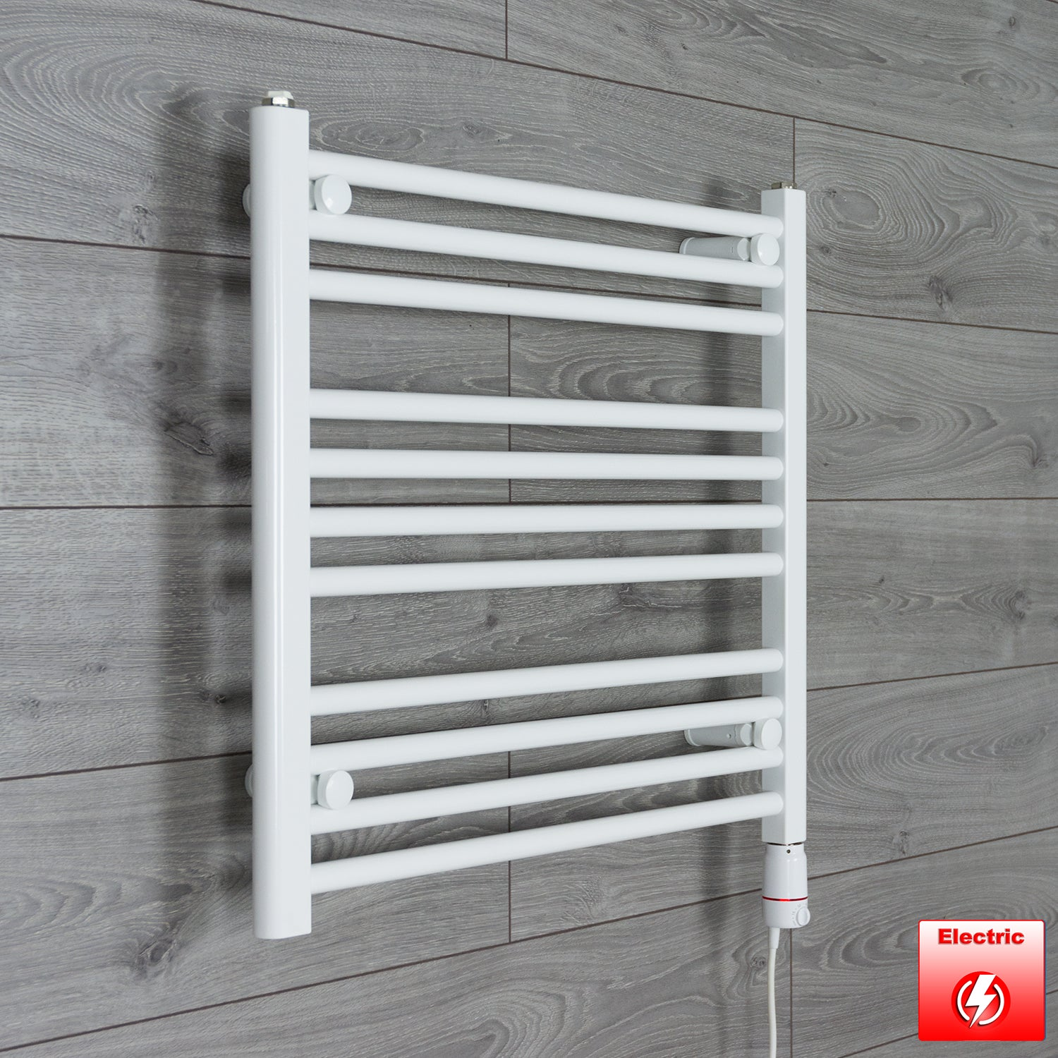 600mm Wide 600mm High Pre-Filled White Electric Towel Rail Radiator With Thermostatic GT Element