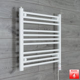 650mm Wide 600mm High Pre-Filled White Electric Towel Rail Radiator With Thermostatic GT Element
