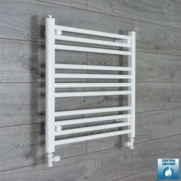 700mm Wide 600mm High White Towel Rail Radiator With Straight Valve