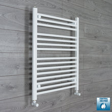 Load image into Gallery viewer, 650mm Wide 800mm High White Towel Rail Radiator With Angled Valve