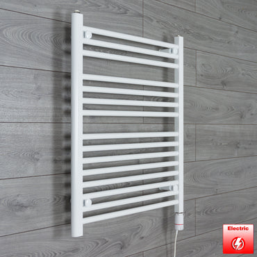 650mm Wide 800mm High Pre-Filled White Electric Towel Rail Radiator With Thermostatic GT Element