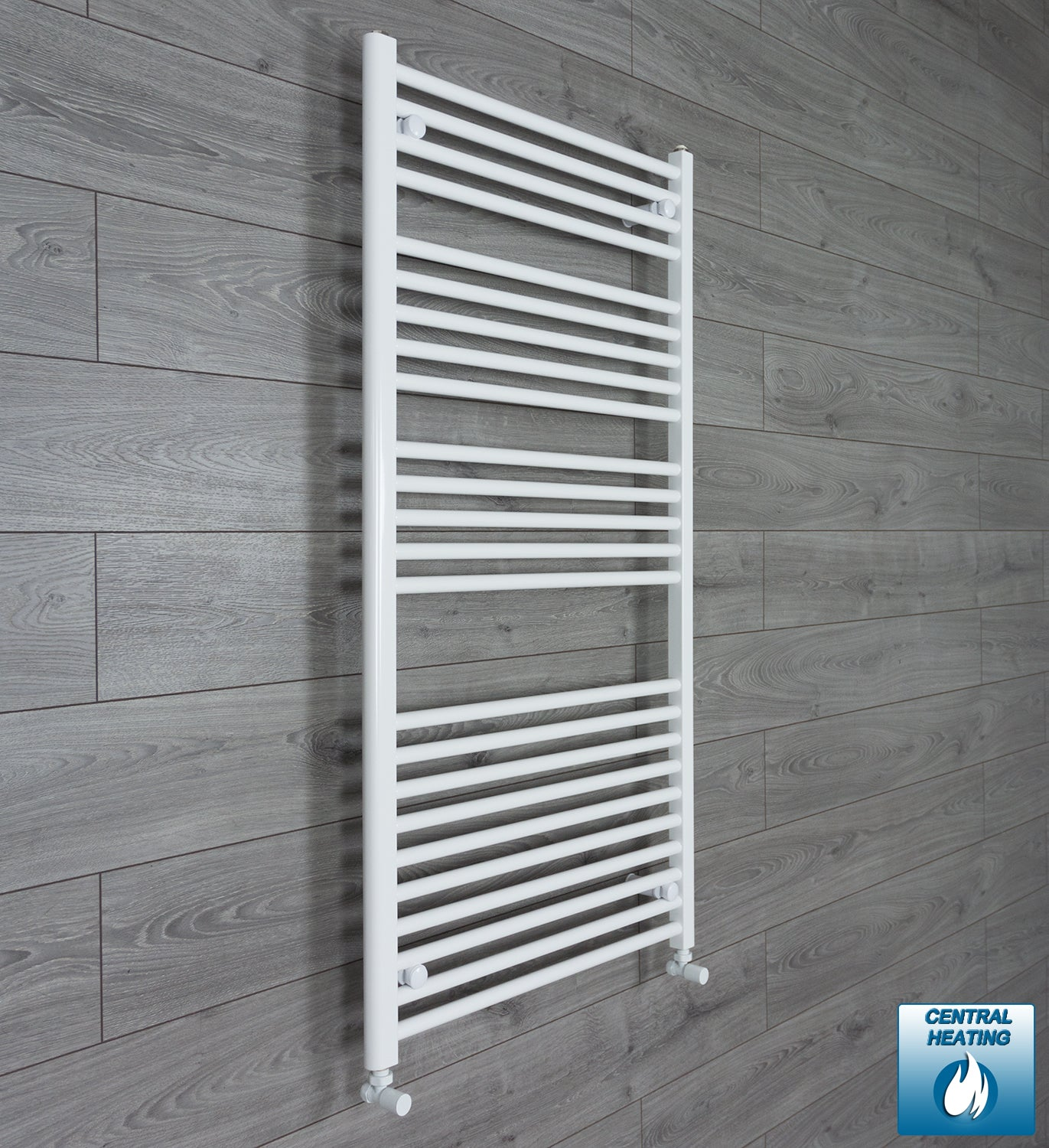 750mm Wide 1300mm High White Towel Rail Radiator With Angled Valve