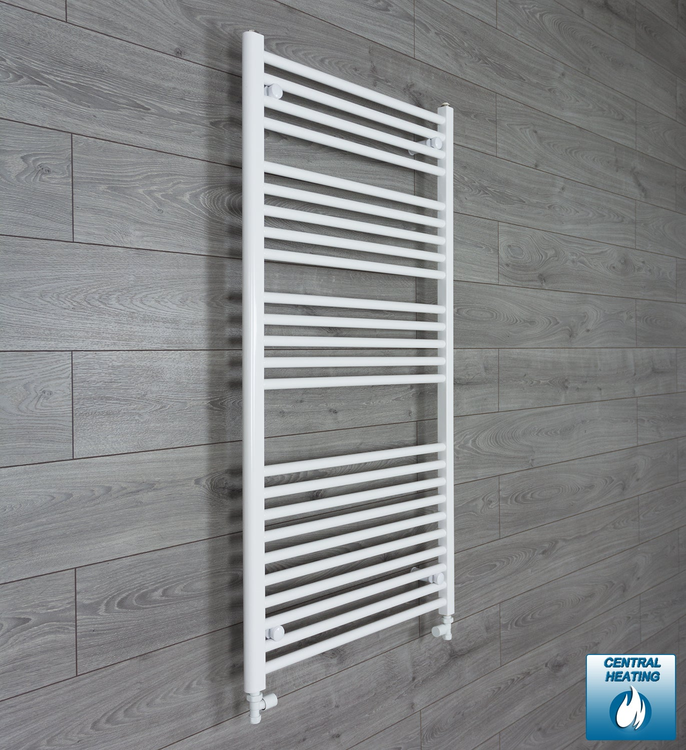700mm Wide 1300mm High White Towel Rail Radiator With Straight Valve
