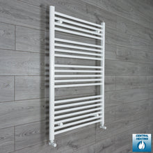 Load image into Gallery viewer, 750mm Wide 1100mm High White Towel Rail Radiator With Angled Valve