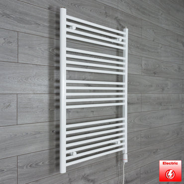 750mm Wide 1100mm High Pre-Filled White Electric Towel Rail Radiator With Thermostatic GT Element