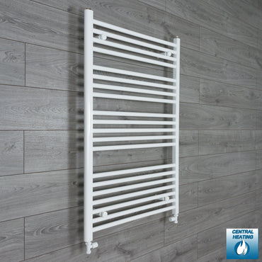 800mm Wide 1100mm High White Towel Rail Radiator With Straight Valve