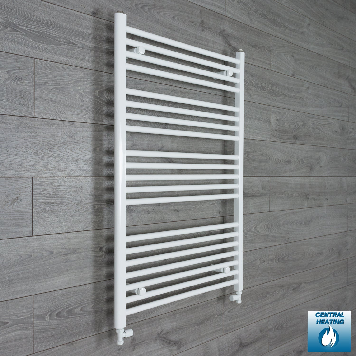 750mm Wide 1100mm High White Towel Rail Radiator With Straight Valve