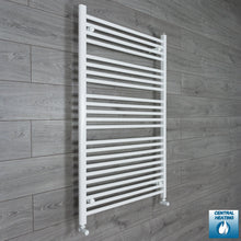 Load image into Gallery viewer, 900mm Wide 1200mm High White Towel Rail Radiator With Angled Valve