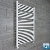 800mm Wide 1200mm High White Towel Rail Radiator With Straight Valve