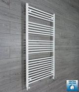 950mm x 1400mm High White Towel Rail Radiator With Straight Valve