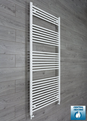 750mm Wide 1800mm High White Towel Rail Radiator With Straight Valve