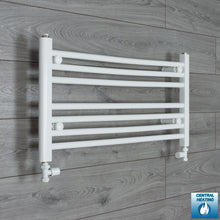 Load image into Gallery viewer, 900mm Wide 400mm High White Towel Rail Radiator With Straight Valve