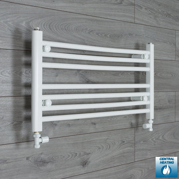 850mm Wide 400mm High White Towel Rail Radiator With Straight Valve