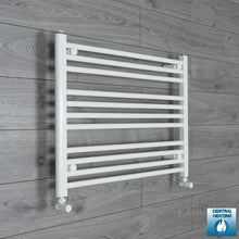 Load image into Gallery viewer, 750mm Wide 600mm High White Towel Rail Radiator With Angled Valve
