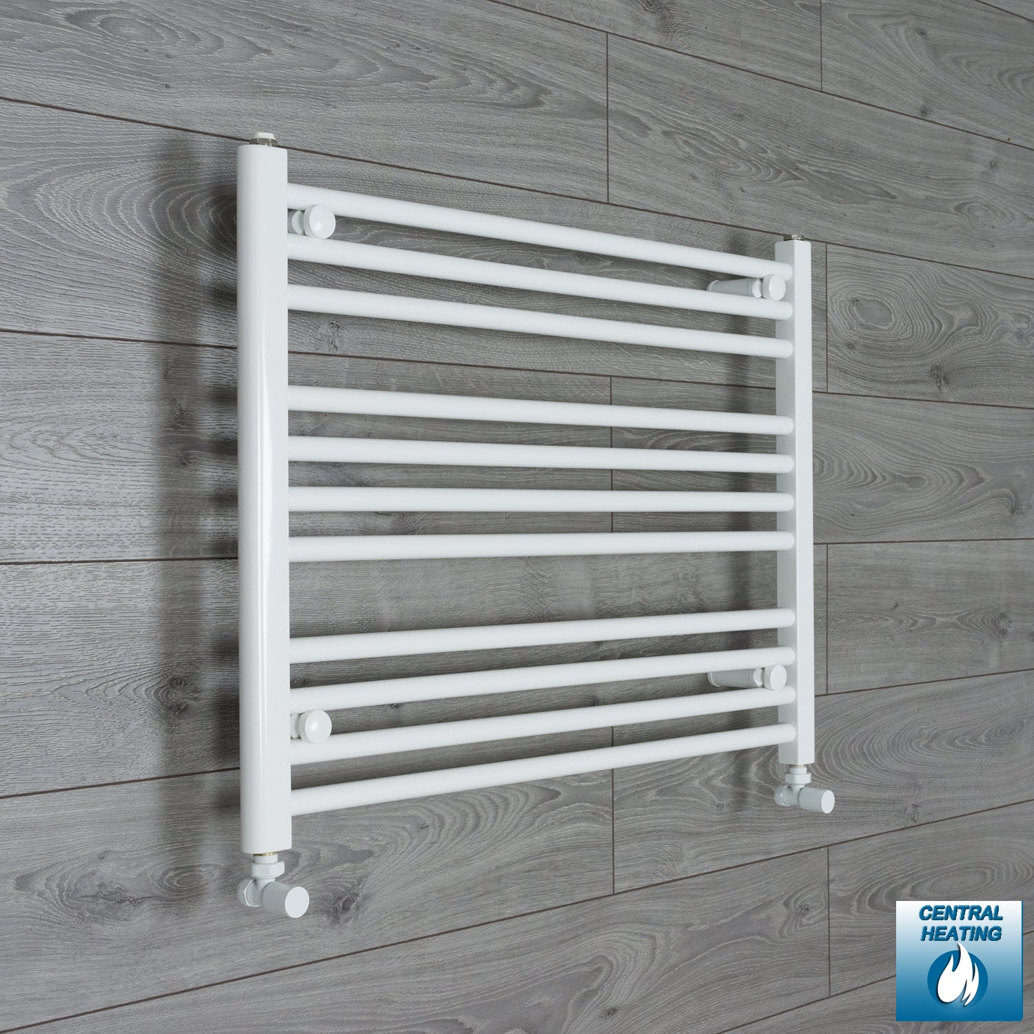 750mm Wide 600mm High White Towel Rail Radiator With Angled Valve