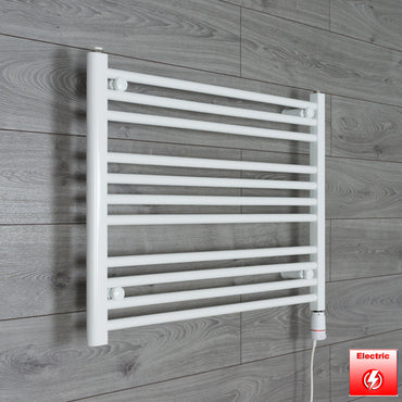 750mm Wide 600mm High Pre-Filled White Electric Towel Rail Radiator With Thermostatic GT Element