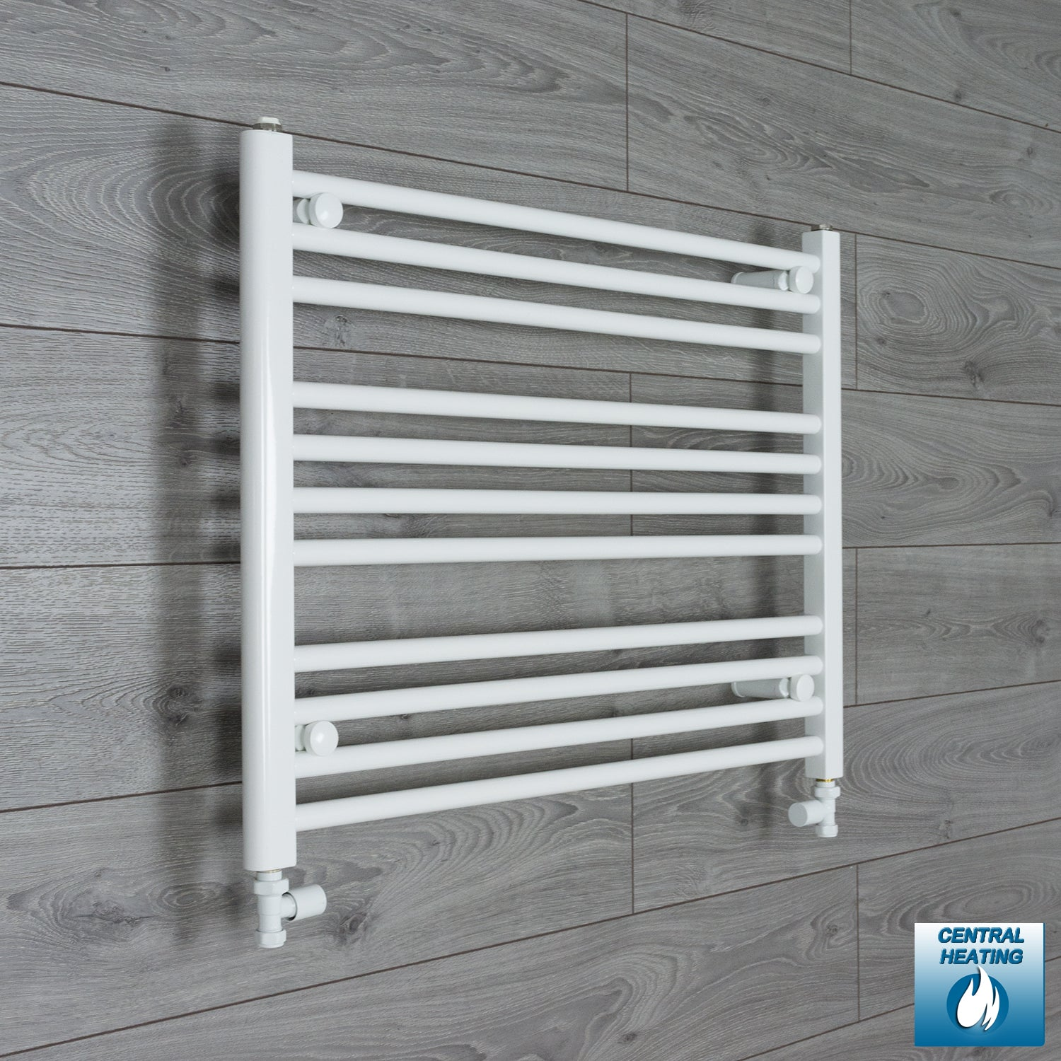 750mm Wide 600mm High White Towel Rail Radiator With Straight Valve