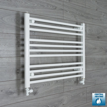 800mm x 600mm High White Towel Rail Radiator With Straight Valve