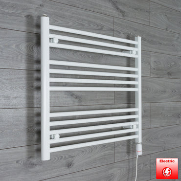 800mm Wide 700mm High Pre-Filled White Electric Towel Rail Radiator With Thermostatic GT Element
