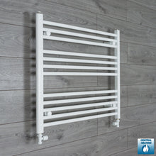 Load image into Gallery viewer, 800mm Wide 700mm High White Towel Rail Radiator With Straight Valve