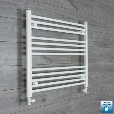 800mm Wide 700mm High White Towel Rail Radiator With Straight Valve
