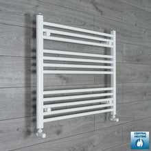 Load image into Gallery viewer, 800mm Wide 700mm High White Towel Rail Radiator With Angled Valve