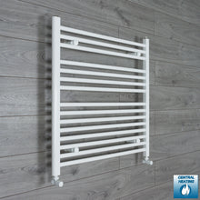 Load image into Gallery viewer, 800mm Wide 800mm High White Towel Rail Radiator With Angled Valve