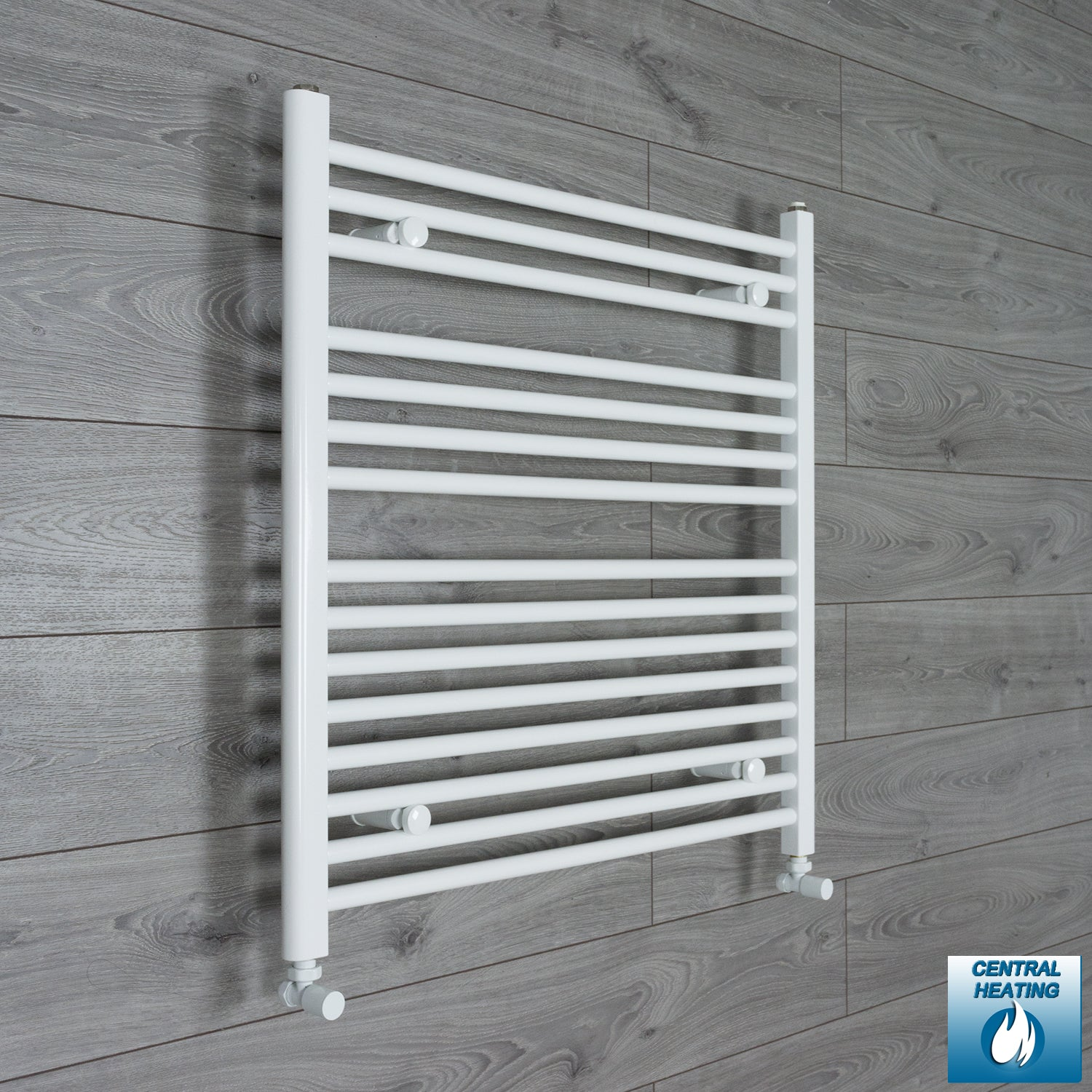 850mm Wide 800mm High White Towel Rail Radiator With Angled Valve