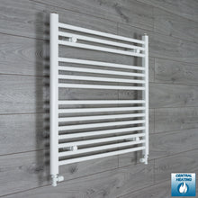 Load image into Gallery viewer, 800mm Wide 800mm High White Towel Rail Radiator With Straight Valve