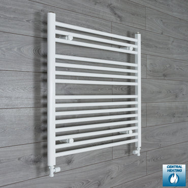 800mm Wide 800mm High White Towel Rail Radiator With Straight Valve