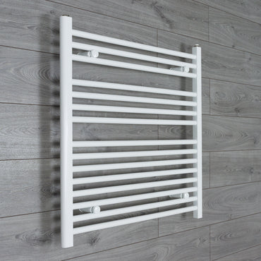 750x800mm Flat White Electric Element Towel Rail