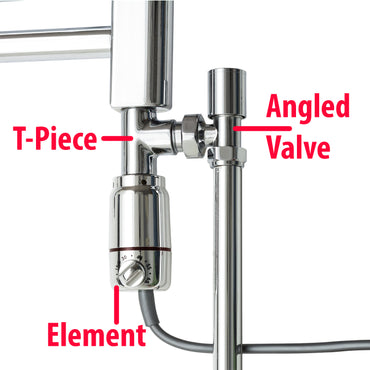 GT Chrome Thermostatic Dual Fuel Kit for Towel Rail Items