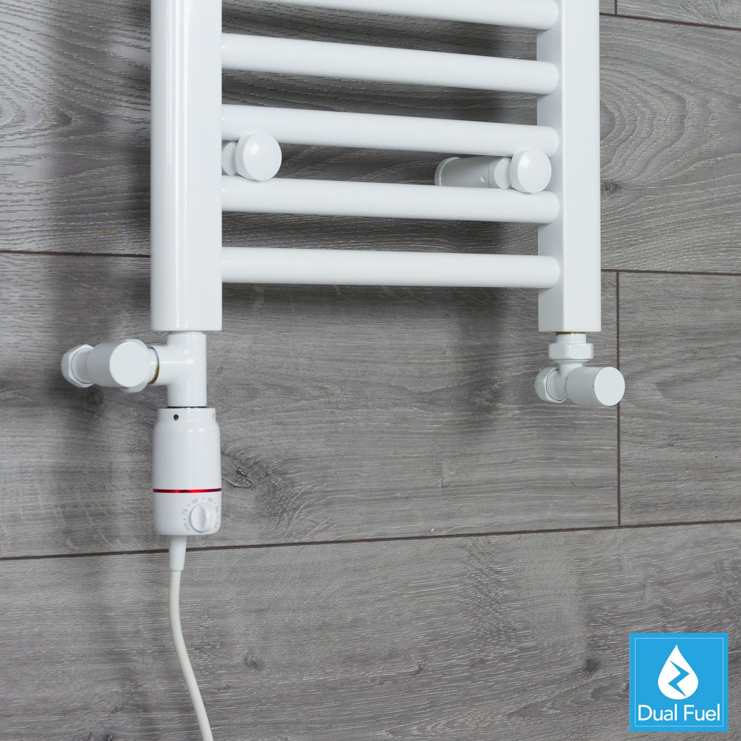 White Towel Rail Radiator Dual Fuel Kit With GT Thermostatic Element