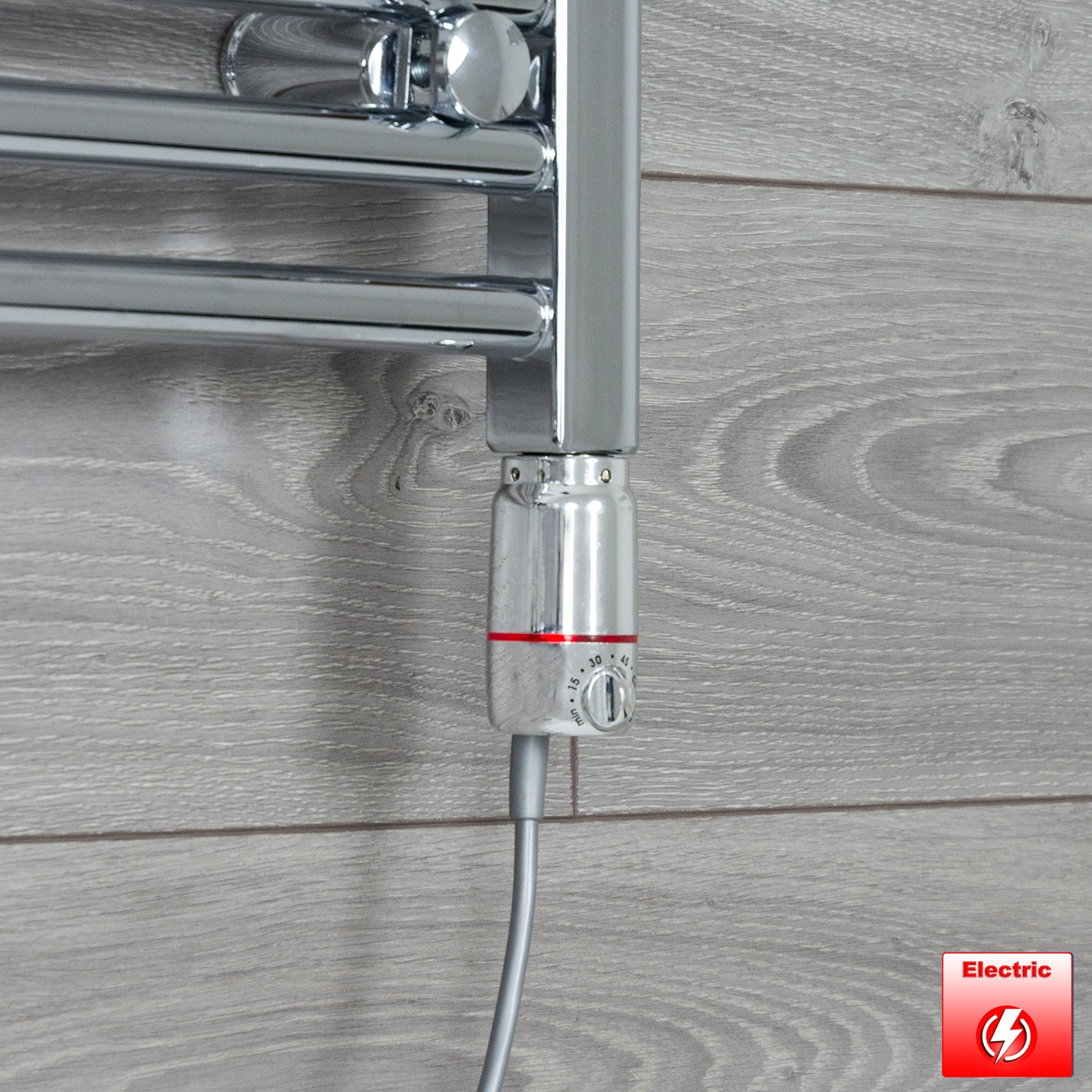 600mm Wide 1800mm High Pre-Filled Chrome Electric Towel Rail Radiator With Thermostatic GT Element