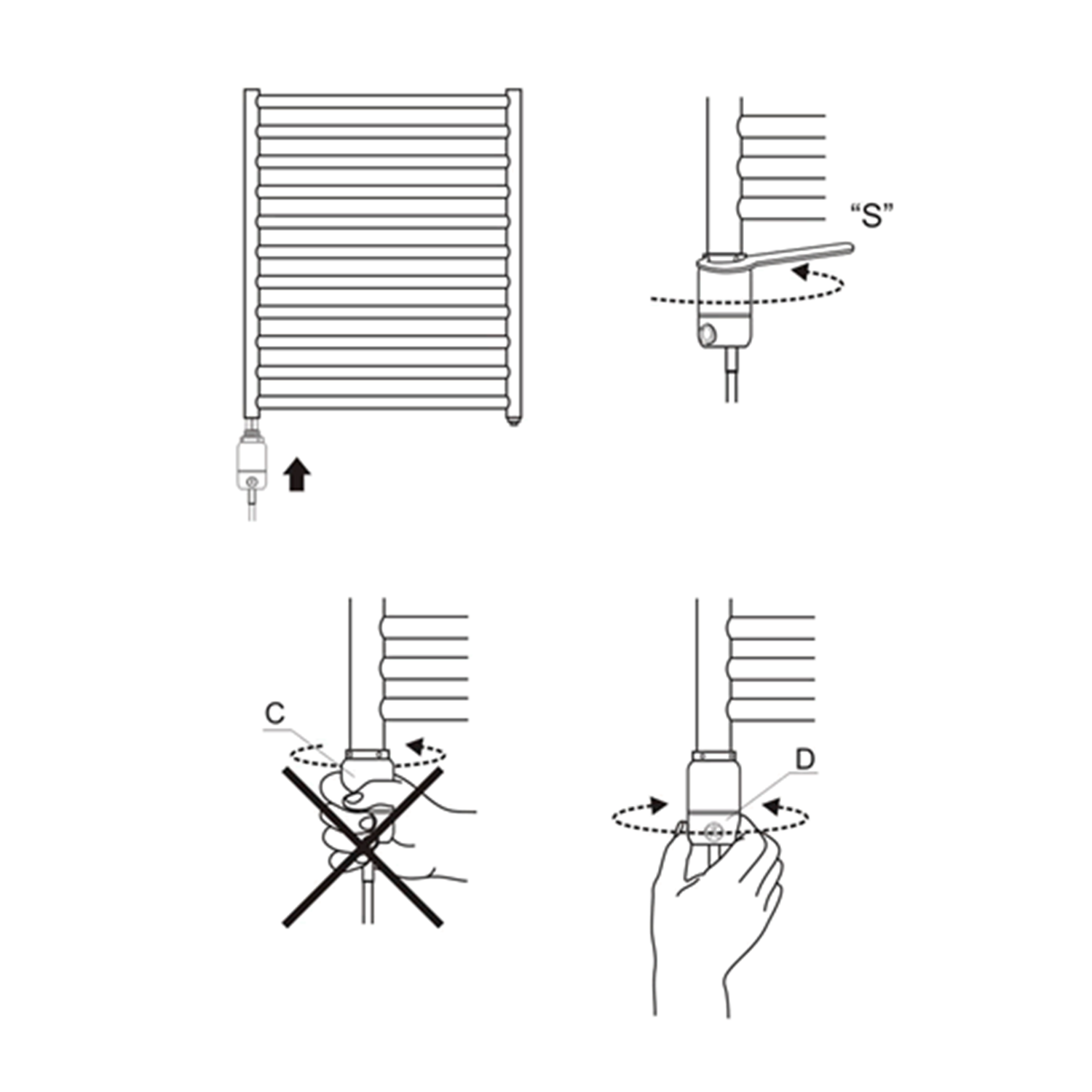 Towel Radiator GT Element Fitting Diagram Schema Elegant-Radiators