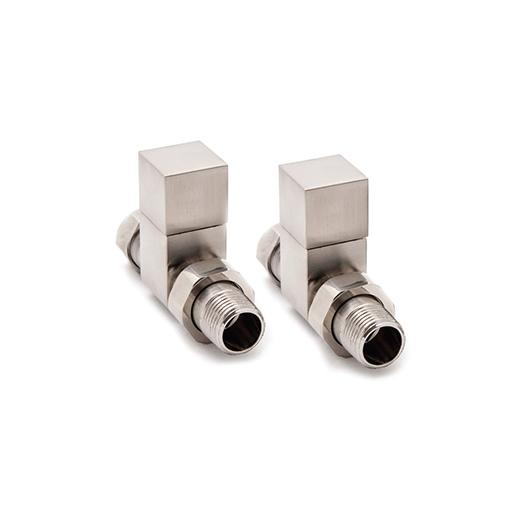 Reina Loge Square Straight Brushed Towel Rail Radiator Valve Pair
