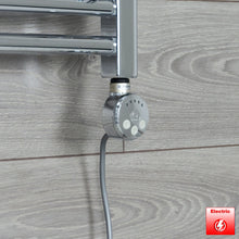 Load image into Gallery viewer, 400mm Wide 1200mm High Pre-Filled Chrome Electric Towel Rail Radiator With Thermostatic MEG Element