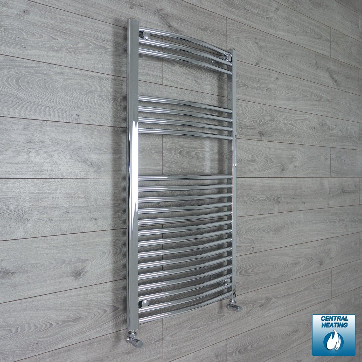 600mm x 1100mm High Curved Chrome Towel Rail Radiator With Angled Valve