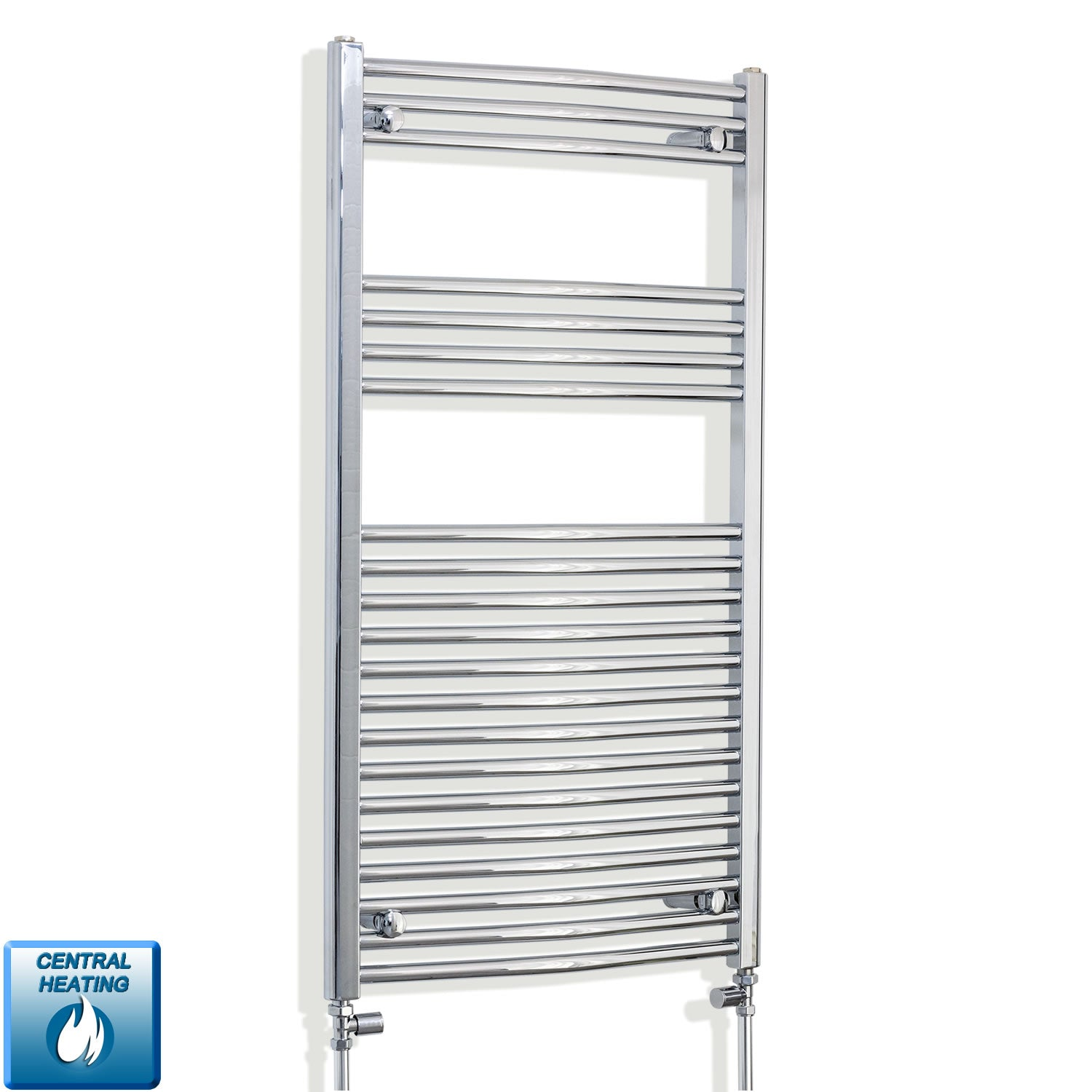 600mm x 1100mm High Curved Chrome Towel Rail Radiator With Straight Valve